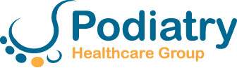 Blue and Yellow Podiatry Healthcare Group logo on a white background